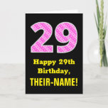"[ Thumbnail: 29th Birthday: Pink Stripes and Hearts ""29"" + Name Card ]"
