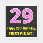 "[ Thumbnail: 29th Birthday: Pink Stripes and Hearts ""29"" + Name Napkins ]"