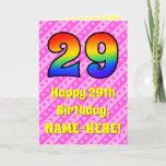[ Thumbnail: 29th Birthday: Pink Stripes & Hearts, Rainbow # 29 ]