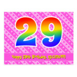 [ Thumbnail: 29th Birthday: Pink Stripes & Hearts, Rainbow 29 Postcard ]