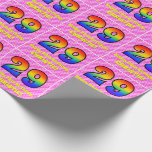 [ Thumbnail: 29th Birthday: Pink Stripes & Hearts, Rainbow # 29 Wrapping Paper ]