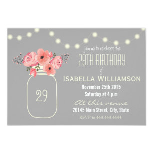 29th Birthday Pink Watercolor Flowers Mason Jar Invitation