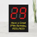 "[ Thumbnail: 29th Birthday: Red Digital Clock Style ""29"" + Name Card ]"