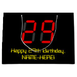 "[ Thumbnail: 29th Birthday: Red Digital Clock Style ""29"" + Name Gift Bag ]"