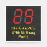 "[ Thumbnail: 29th Birthday: Red Digital Clock Style ""29"" + Name Napkins ]"
