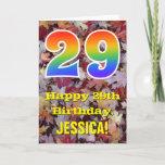 "[ Thumbnail: 29th Birthday; Rustic Autumn Leaves; Rainbow ""29"" Card ]"