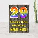 "[ Thumbnail: 29th Birthday: Rustic Faux Wood Look, Rainbow ""29"" Card ]"