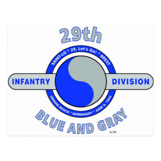 "29TH INFANTRY DIVISION ""BLUE AND GRAY"" POSTCARD"