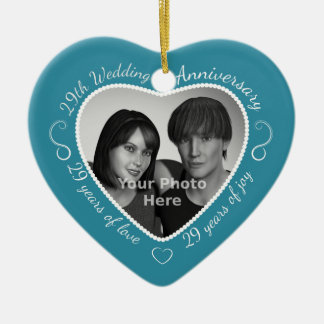 29th Wedding Anniversary Photo Double-Sided Heart Ceramic Christmas Ornament