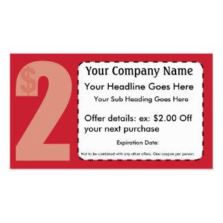 $2,00 De tarjeta de la cupón Tarjeta Personal