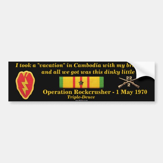 2/22nd Infantry Cambodian Vacation Bumper Sticker