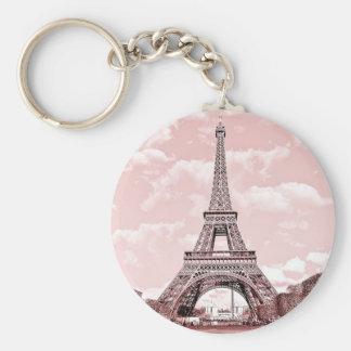"""2.25"""" Basic Button Keychain Pink Eiffel Tower"""