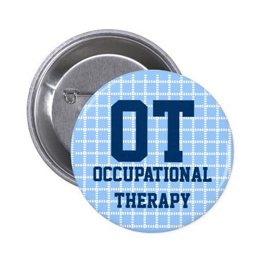 """2,25"""" botón de la terapia profesional - azul y bla pins"""