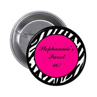 "2.25""  Button Monogram Hot Pink Zebra Animal Print"