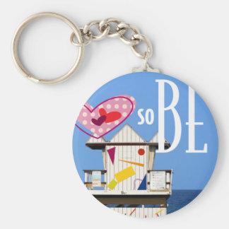"2.25"" Key ring Love South Beach Miami 6 ST Basic Round Button Keychain"