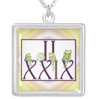 2 29 Roman Numerals w/Frogs Square Pendant Necklace