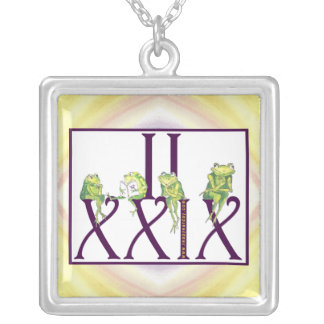 2 29 Roman Numerals w/Frogs Silver Plated Necklace