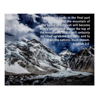 2:2 de Isaías - tops de la montaña Póster