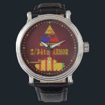"""2/34th Armor M48 Watch<br><div class=""""desc"""">Features the M48A3 Patton Tank silhouette cut from the Vietnam Service Medal ribbon with the 2/34th Armor Dreadnaught shoulder patch on a deep red gradient face.</div>"""