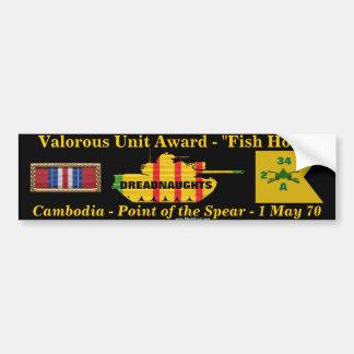 "2/34th Armor Valorous Unit - Cambodia ""Fish Hook"" Bumper Stickers"