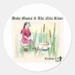 2:3 del éxodo - bebé Moses en el río Nilo Pegatinas Redondas