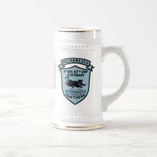 2/47th Infantry White and Gold Stein