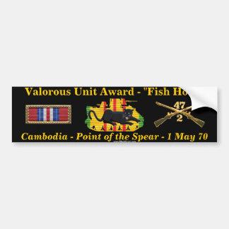 "2/47th Valorous Unit - Cambodia ""Fish Hook"" Bumper Sticker"