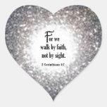 2 5:7 de los Corinthians Calcomania De Corazon