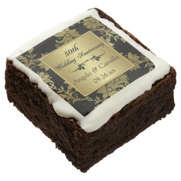 """2.5"""" Black, Gold Damask 50th Anniversary Brownies Square Brownie"""