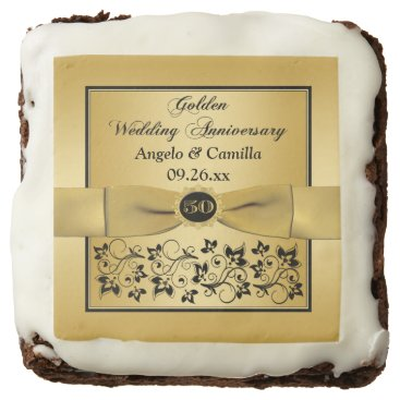 """2.5"""" Black, Gold Floral 50th Anniversary Brownies Square Brownie"""