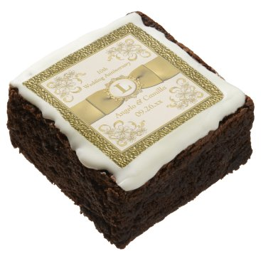 "2.5"" Ivory, Gold Floral 10th Anniversary Brownies Square Brownie"
