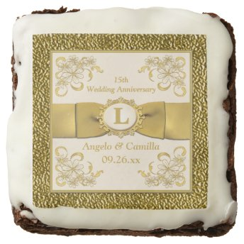 """2.5"""" Ivory, Gold Floral 15th Anniversary Brownies Square Brownie"""