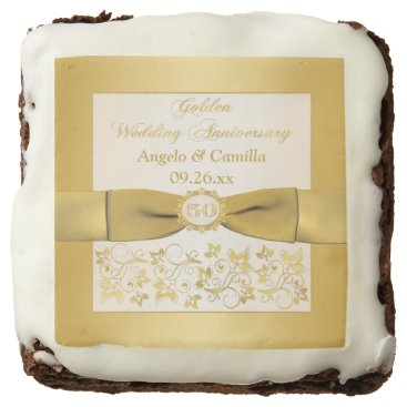 "2.5"" Ivory, Gold Floral 50th Anniversary Brownies Brownie"