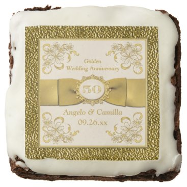 "2.5"" Ivory, Gold Floral 50th Anniversary Brownies Square Brownie"