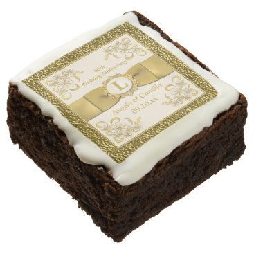 "2.5"" Ivory, Gold Floral 60th Anniversary Brownies Square Brownie"