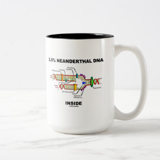 2.5% Neanderthal DNA Inside (DNA Replication) Two-Tone Coffee Mug