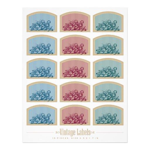 """2,5 x 1,7"""" vintage etiqueta la hoja del collage membretes personalizados"""