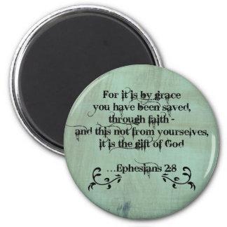 2:8 cristiano de Ephesians del verso de la biblia Imán Redondo 5 Cm