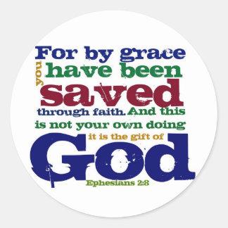 2:8 de Eph para por la tolerancia le han ahorrado Pegatina Redonda