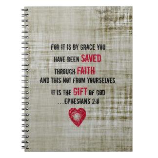 2:8 de Ephesians del verso de la biblia Libreta