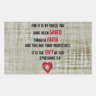 2:8 de Ephesians del verso de la biblia Pegatina Rectangular