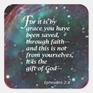 2:8 de Ephesians Colcomanias Cuadradas Personalizadas