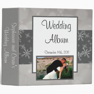 "2.8"" Photo Binder Gray Snowflakes"