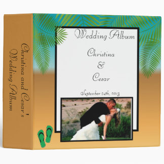 "2.8"" Photo Binder His/Hers Sandals On Beach plam t"