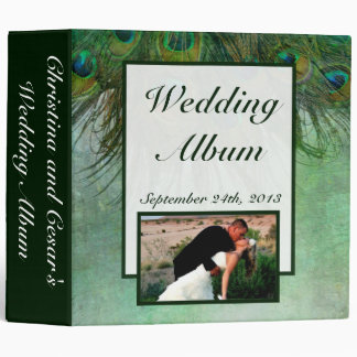 """2.8"""" Photo Binder Peacock Green Feathers"""