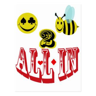 2 abeja feliz todos adentro. postal