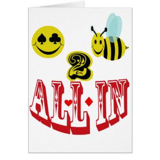 2 abeja feliz todos adentro. tarjeta de felicitación