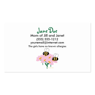 2 abejas y flores rosadas centradas tarjetas de visita