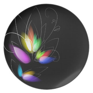 2 ABSTRACT DIGITAL REALISM COLORFUL RANDOM FLORAL DINNER PLATES