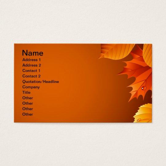 2.ai Orange Autumn Leaves Business Card